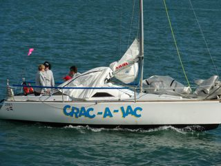 Crac-A-Jac leaving the Viaduct Basin for the start line