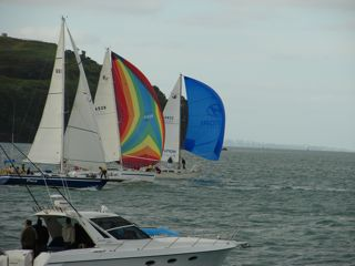 Photo: The fleet including Team Hyundai Promise passing North Head