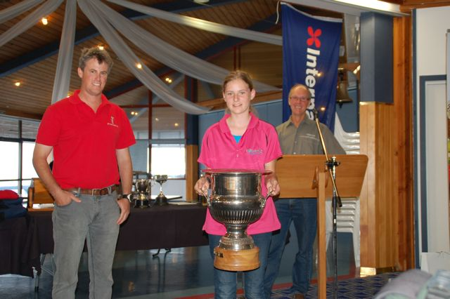 Photo: Prizegiving: Edwin's sister Kathlyn with the enormous cup for Two-handed division, First on Handicap