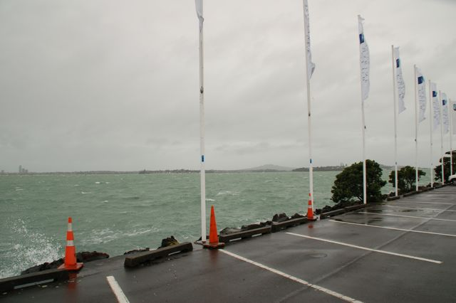 Photo: Prizegiving: The weather outside Westhaven Marina, <br>with waves splashing into the car-park