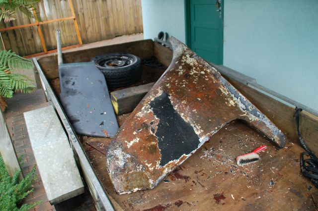 Photo: Crac-A-Jac's keel and rudder in need of an overhaul