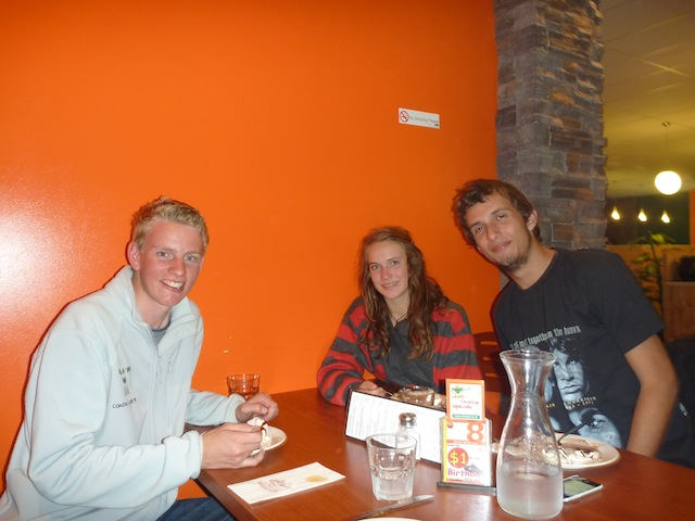 Edwin Delaat, Laura Dekker and Bruno - enjoying a good New Zealand meal after the long trip