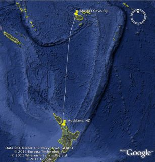 Google Map: Auckland, NZ to Musket Cove, Fiji