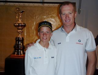 Edwin Delaat with James Spithill and the America's Cup