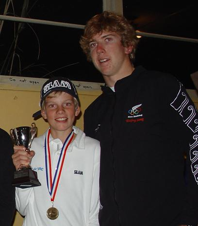 RAYC Prizegiving 2009, 1st in Optimist, Edwin Delaat with Peter Burling